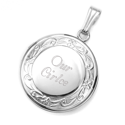 Sterling Silver Filigree Border Engraved Lockets  inset 3