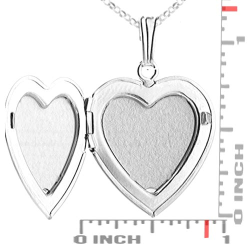 Premium Silver Heart 2 Pic Engraved Locket Necklace inset 1
