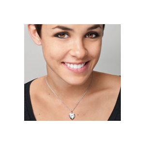 Sterling Silver Diamond Heart Engraved Locket Necklace inset 3