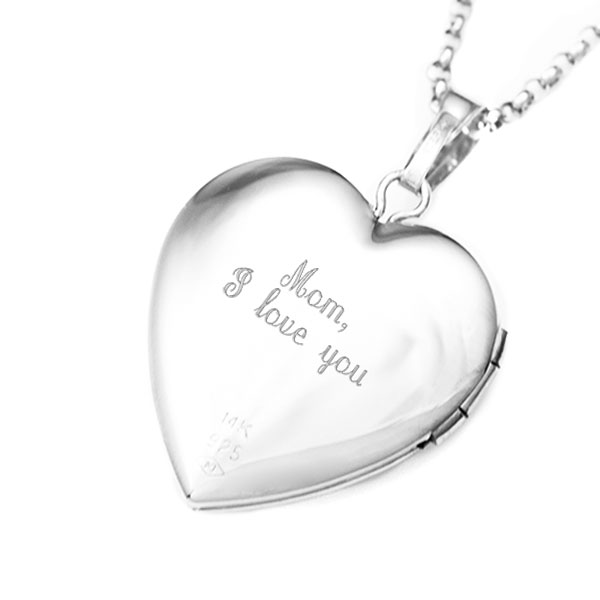 Silver & 14K Gold Mom & Child Engraved Locket Necklace inset 1