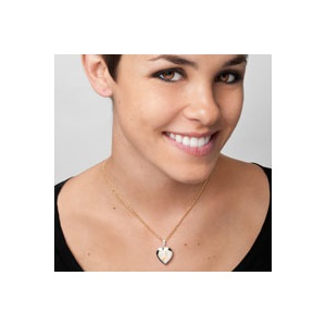 Silver & 14K Gold Mom & Child Engraved Locket Necklace inset 3