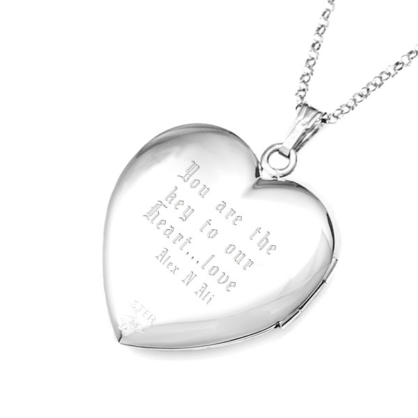 Sterling Silver Touching Hearts Personalized Locket Necklace inset 2