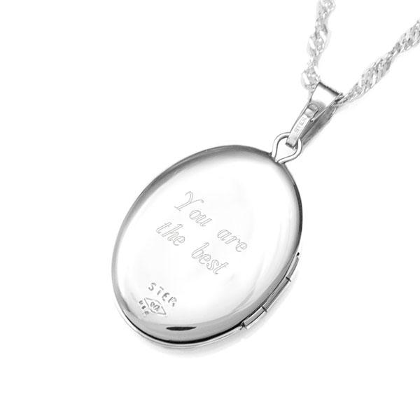 I Love You Sterling Silver 2 Picture Engraved Locket inset 2