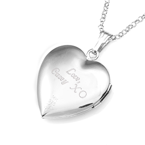 Silver 14K Gold Heart Personalized Locket Necklace inset 2