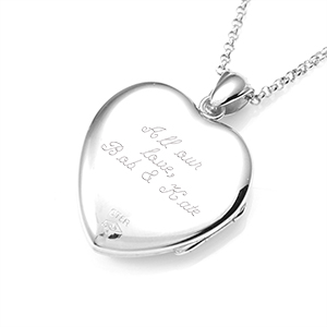 Diamond Center Sterling Silver Engraved Locket Necklace inset 2