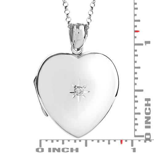 Diamond Center Sterling Silver Engraved Locket Necklace inset 3
