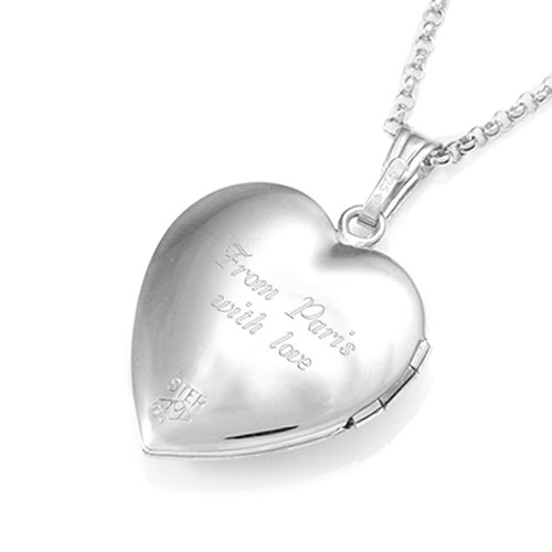 Accented Sterling and Gold Hearts Engraved Locket inset 3