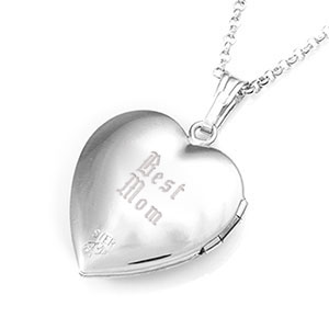 Diamond Blossom Silver Heart Engraved Lockets inset 3
