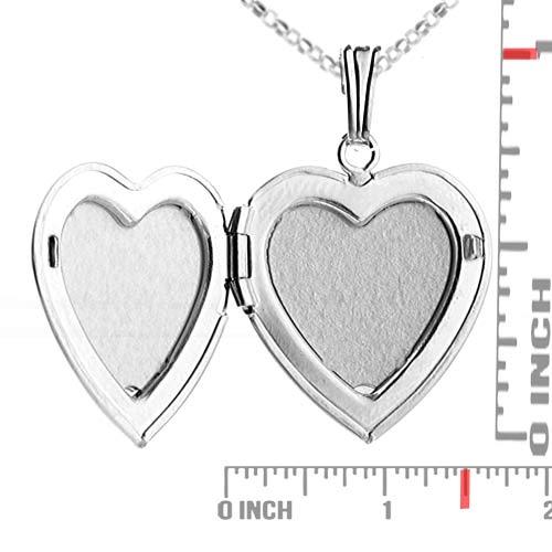 Diamond Blossom Silver Heart Engraved Lockets inset 2