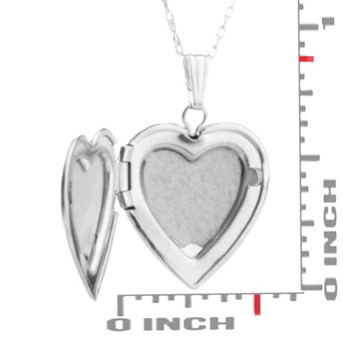 14K White Gold Petite Engraved Locket Necklace inset 2