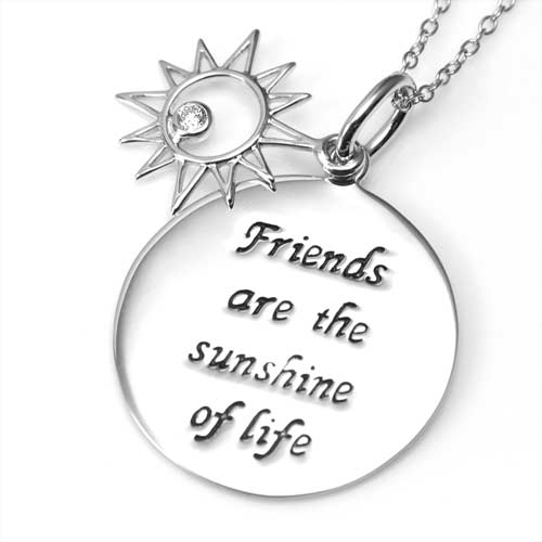 Friends are Sunshine Engraved Sterling Silver Necklace inset 1