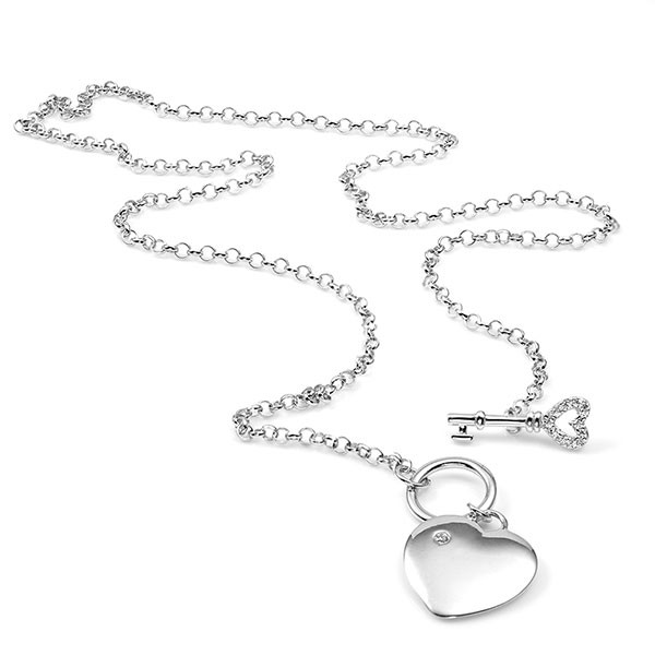 Sterling Heart with Key Engravable Necklace inset 1