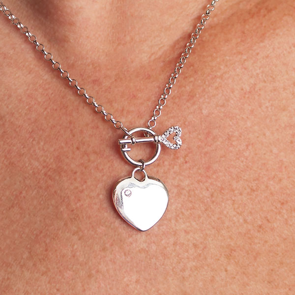 Sterling Heart with Key Engravable Necklace inset 2