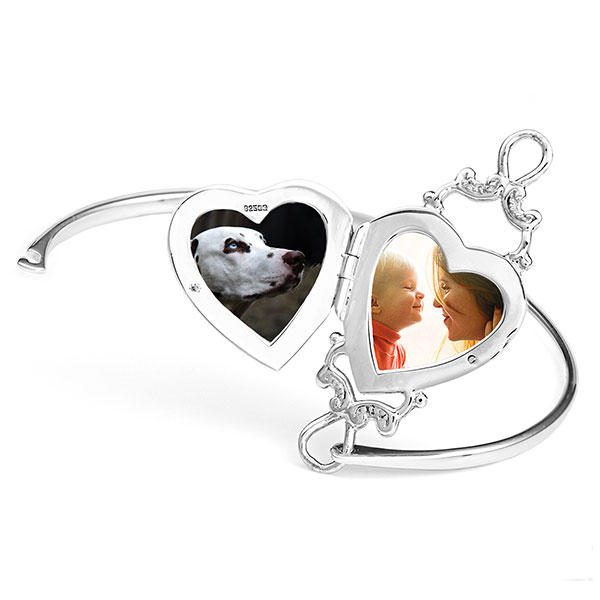 Personalized Sterling Locket Bangle Bracelet inset 1
