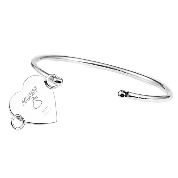 Engraved Sterling Silver Heart Bangle inset 1