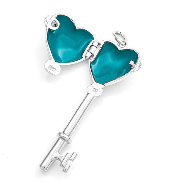 Engraved Sterling Silver Heart Key Locket inset 1