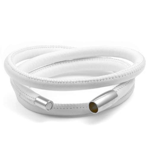 Echo White Soft Leather Multi Wrap for Silver Charms inset 1
