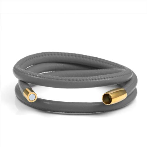 Echo Gray Soft Leather Multi Wrap for Gold Charms inset 1