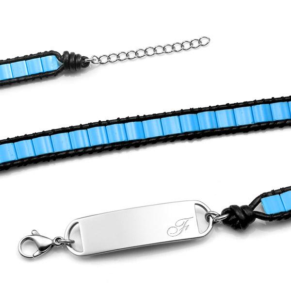 Adjustable Pacific Blue Ocean Double Wrap Shell Engraved Bracelet  inset 2