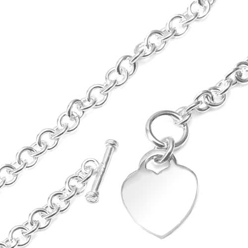 Engraved Sterling Silver Heart Pendant Toggle Necklace inset 1
