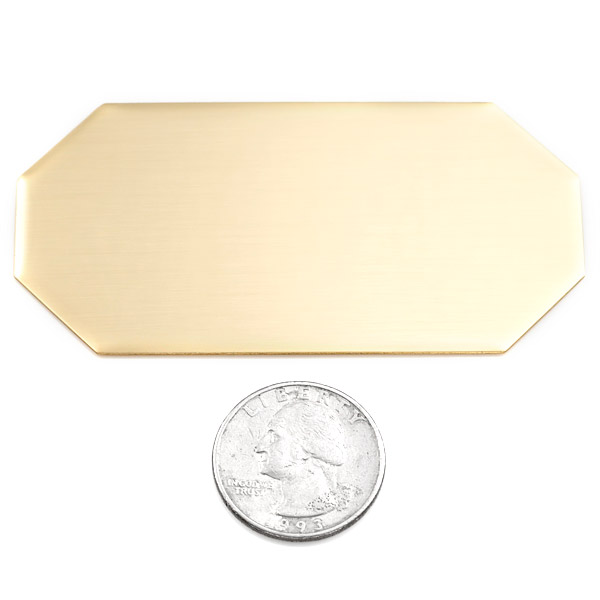 Wide Octagon Brass Plate 3 1/4 x 1 5/8 Inch inset 1