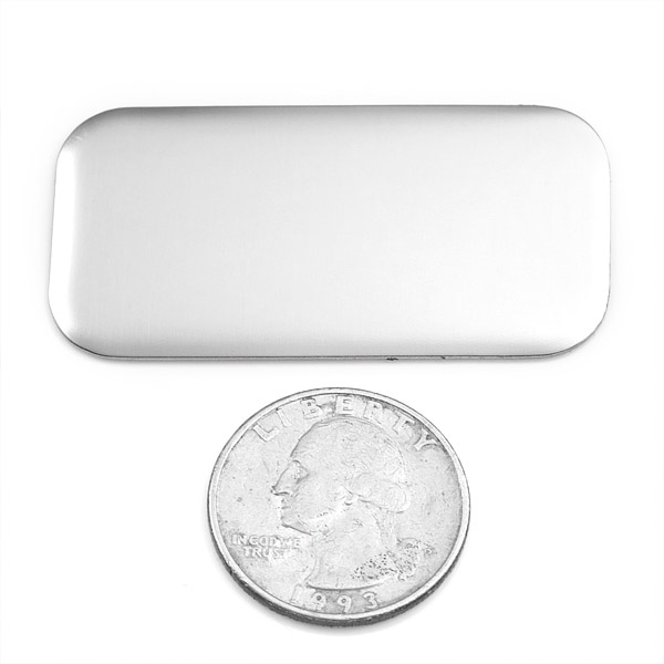 Rounded Corner Rectangle Silver Plate 2 x 1 Inch inset 1