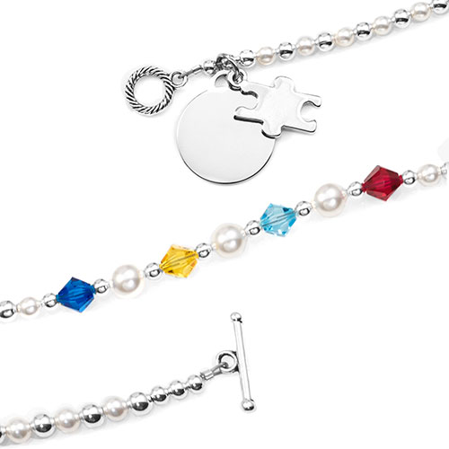 Autism Awareness Beaded Charm Bracelet  inset 1