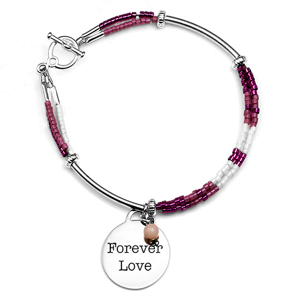 Pretty in Pink Charm Engravable Bracelet for Her inset 1