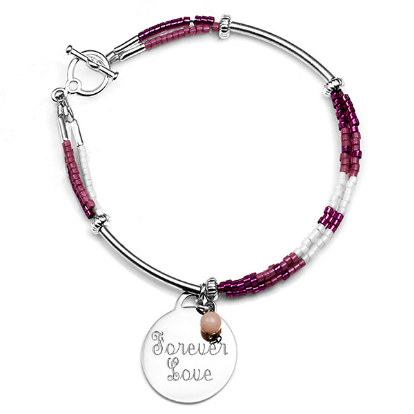 Pretty in Pink Charm Engravable Bracelet for Her inset 2