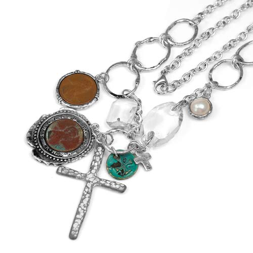 In God We Trust Penny Patina & Cross Fashion Necklace 24 In inset 1