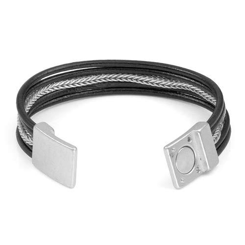 Genuine Black Leather Silver Tone Magnetic Fashion Bracelet inset 1