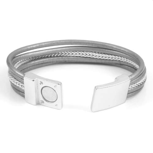 Genuine Grey Leather Silver Tone Magnetic Fashion Bracelet inset 1