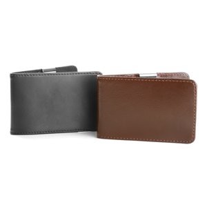Hunter Monogrammed Mens Genuine Leather Money Clip Wallet inset 1