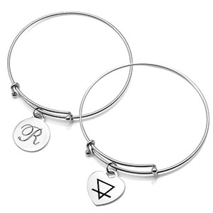 Personalized Silver Bangle Charm Bracelets