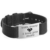 Adjustable Black Personalized Bracelet