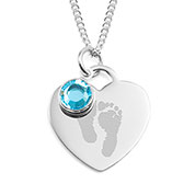 Baby Feet Heart Personalized Birthstone Necklaces