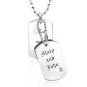Personalized Double Dog Tags with Crystal Accent