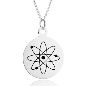 Silver Engraved Necklace with 1 inch Round Charm