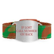 Forest Camo Bracelet with Safety ID Tag for Kids