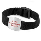 Black Bracelet with Safety ID Tag for Kids