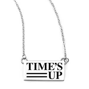 Times UP Adjustable Silver Engraved Bar Necklace