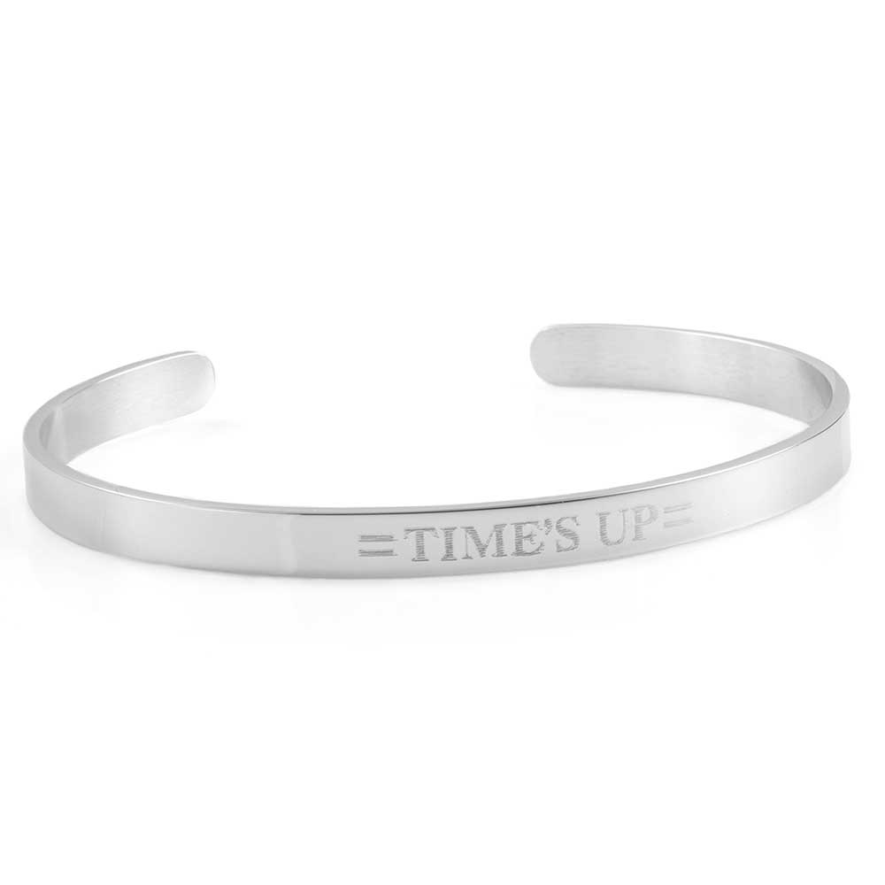 Times UP Rhodium Plated Cuff Engraved Bracelet
