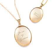 Gold Engraved Handwriting Locket Necklace