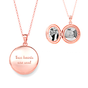 Artisan Round Rose Gold Personalized Locket Necklace