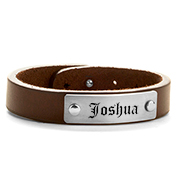 Adjustable Brown ID Leather Engraved Bracelet