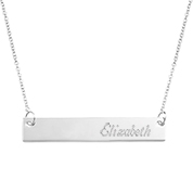 Adjustable Personalized Rhodium Bar Necklace