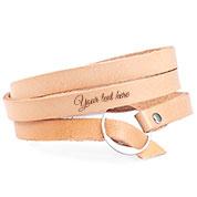 Adjustable Tan Wrap Leather Personalized Bracelet