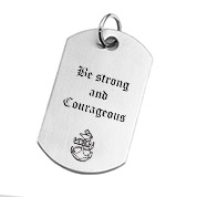 Brushed Stainless Steel Engraved Dog Tag Pendant