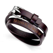 Giza Personalized Coordinates Leather Wrap Bracelet