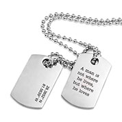Polished Steel Engraved Double Dog Tag Necklace